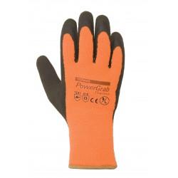 Gant polyester/coton enduit de latex noir. Doublure hiver. Orange.