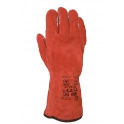 Gant soudeur en croûte rouge, tout doublé. Sélection BC. 408 BC