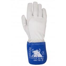 Gant tout cuir, chevreau couleur blanc/ bleu avec manchette croûte